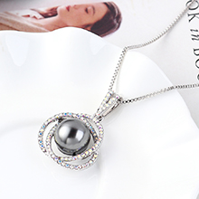 进口水晶项链--花蕊宝珠(灰色)
