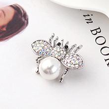 进口水晶胸针--小飞虫(白色)