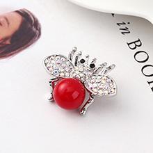 进口水晶胸针--小飞虫(红色)