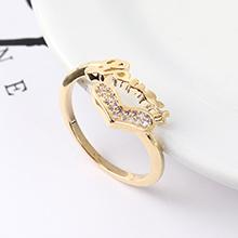 AAA级锆石戒指--心形字母戒(14K金)