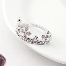 AAA级锆石戒指--皇冠指环(白金)