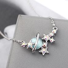 进口水晶猫眼石A款项链--星光色彩(浅蓝)