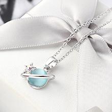 进口水晶猫眼石B款项链--星光色彩(浅蓝)