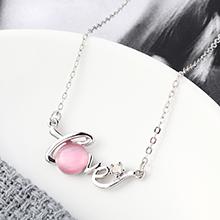 进口水晶猫眼石C款项链--星光色彩(粉色)