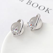 S925银针猫眼石B款耳环--星光色彩(灰白)