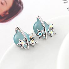S925银针猫眼石A款耳环--星光色彩(白金+浅蓝)
