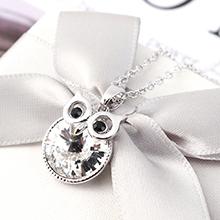 奥地利水晶项链--呆萌猫头鹰(白色)