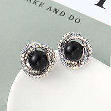 珍珠耳钉--花团锦簇(黑色)