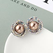 珍珠耳钉--花团锦簇(古铜)