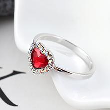 奥地利水晶戒指--爱是你我(浅红)