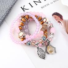 韩版时尚复古个性小树叶贝壳手链(紫红)