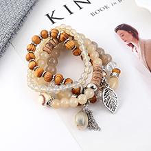 韩版时尚复古个性小树叶贝壳手链(灰白)