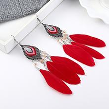 韩版时尚复古民族风创意小叶子羽毛耳环(红色)