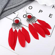 欧美民族风时尚复古长款羽毛耳环(红色)