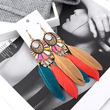 韩版复古民族风长款流苏叶子耳环(彩色)