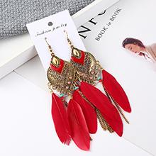 韩版时尚长款夸张流苏羽毛耳环(红色)