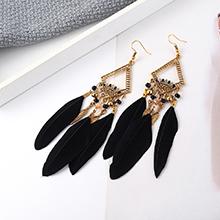 欧美复古时尚民族风羽毛耳环(黑色)