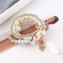 韩版简约时尚复古风手掌手链套装(白色)