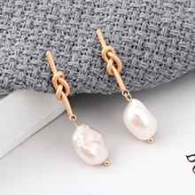欧美百搭时尚冷淡风天然珍珠S925银针