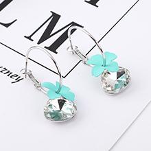 韩版镀真金时尚大气花朵玻璃耳环(白金+青色)