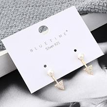 韩版镀真金创意百搭小清新三角形珍珠S925银针(14K金)