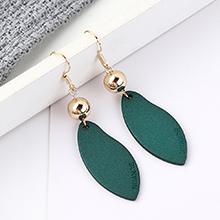 韩版镀真金时尚简约小清新一片叶子耳环(绿色)
