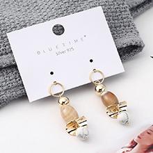 韩版时尚大气个性镀真金小荷片天然石S925银针