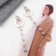 韩版长款百搭时尚风镀真金小圈圈珍珠流苏S925银针(白金)