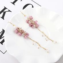 欧美小清新时尚个性镀真金小花朵流苏耳环(粉色)