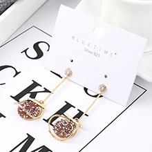 韩版个性时尚夸张镀真金椭圆圆盘S925银针(14k金+粉色)