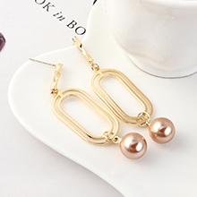 韩版时尚复古简约镀真金双圈镂空珍珠S925银针(14K金)