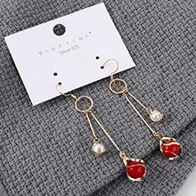欧美时尚大气简约镀真金大小珍珠长款耳环(14K金)