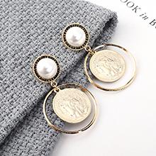 韩版复古时尚简约镀真金头像印章S925银针(14K金)