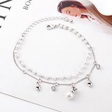 AAA级锆石手链--皇冠珍珠(白金)