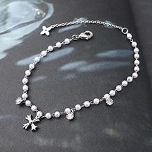 AAA级锆石手链--珠光十字架(白金)