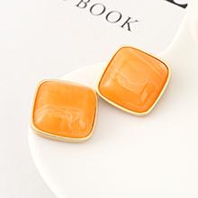 韩版时尚个性百搭镀真金冷淡风正方形树脂S925银针(橘色)