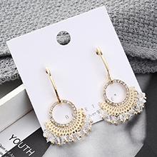欧美简约时尚小清新镀真金小扇子圈圈S925银针
