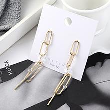 韩版夸张新潮个性镀真金欧锁链流苏S925银针