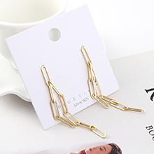 欧美时尚冷淡风夸张镀真金镂空锁链S925银针