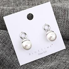 韩版时尚复古大气镀真金小圈珍珠S925银针(白金)