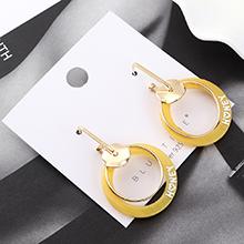 韩版时尚小清新百搭风镀真金双圈镂空S925银针(黄色)