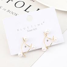 韩版创意夸张时尚镀真金镂空珍珠S925银针