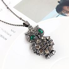 欧美创意时尚复古简约小清新小猫头鹰项链(枪黑+绿色)