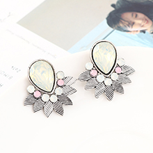 韩版时尚简约小清新百搭小叶子耳环(白K+彩白)