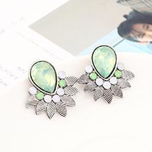 韩版时尚简约小清新百搭小叶子耳环(白K+浅绿)