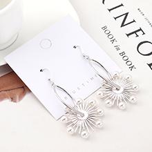 韩版创意复古时尚个性镀真金百搭珍珠花耳环(白金)