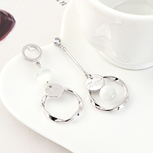 欧美时尚创意个性镀真金流苏圆圈小珠S925银针(白金)